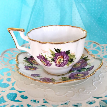 Antique Salisbury Tea Cup and Saucer, China TeaCup Set, Purple Tea Cup, Bone China Tea Cup, English Tea Cup, Floral, Gift for Mom