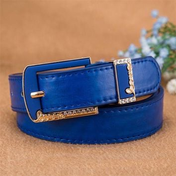 ICIKJG2 2016 Cowskin Genuine Leather Belts For Women Brand Crystals Letters Metal Pin Buckle Women Belt Gift B06