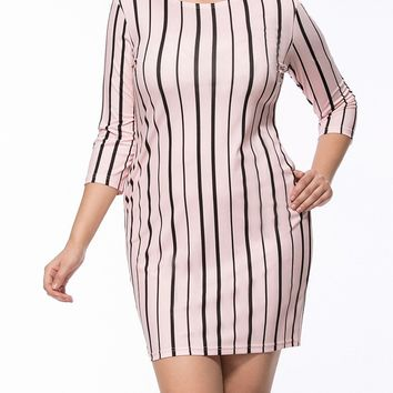 Streetstyle  Casual Vertical Striped Round Neck Pocket Plus Size Bodycon Dress