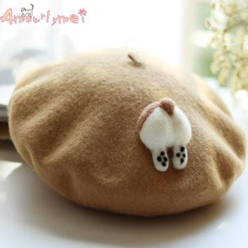 Lolita Beret Cap Japanese Style Mori Girl Winter Warm Cute Corgi /Cat PP Hat For Women Wool Boina Hats 3Color New Style Hot Sale