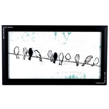 black white birds on a wire framed wall from hobby lobby