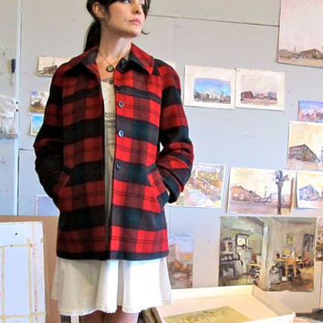 $88.00 1960s Plaid Pendleton Winter Coat  Size Small  by GinnyandHarriot
