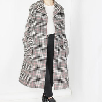 70s plaid trend coat black plaid pea coat mod coat heavy wool long coat small medium
