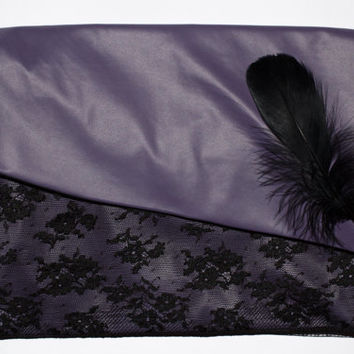 Purple Clutch Bag, Wristlet Clutch, Vegan Leather Bag,  Black Feathers and Lace, Evening Bag, Summer Clutch