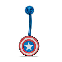 014 Gauge Captain America Logo Belly Button Ring in Stainless Steel with Blue Ion-Plate - - View All - PAGODA.COM