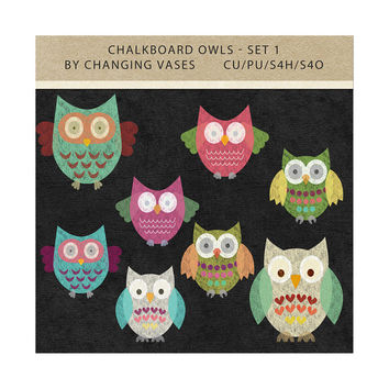 Digital Graphics, Owl Chalkboard Flourishes, Colorful Chalk Clipart, Whimsical Owls Clip Art, Scrapbook Embellishments Commercial Use