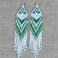 Native American Beaded Earrings Inspired. Green and White Earrings. Dangle Long Earrings. Beadwork.