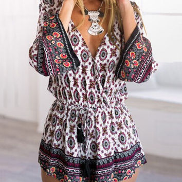 Fashion Printed Long Sleeve V-neck Rompers For Lady