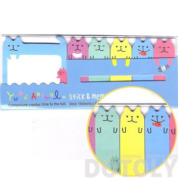 Adorable Kitty Cat Shaped Animal Memo Pad Post-it Index Sticky Tab Bookmarks