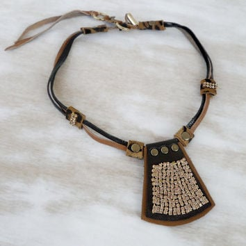 Leopard leather necklace, tribal leather necklace rhinestone with brass studs, unique OOAK necklace