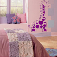 Giraffe with poka dots I love you Large Vinyl Wall Decal lettering Graphic Art Mural Nursery kids room