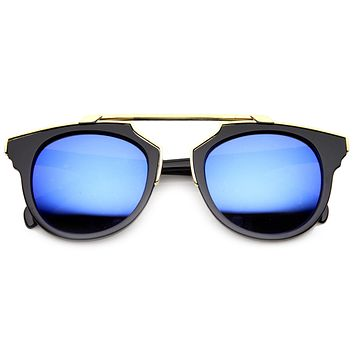 Intricately Designed Retro Horned Rim Mirrored Lens Sunglasses 9754