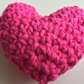 Crochet Pink Heart, Stuffed Heart, Valentine's Day Heart, 3D Heart, Amigurumi, Plush