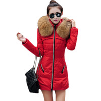 2017 Autumn & Winter Women Parka Outerwear Jacket With Large Fur Collar Plus Size S - XXXL Thickening Long Coat