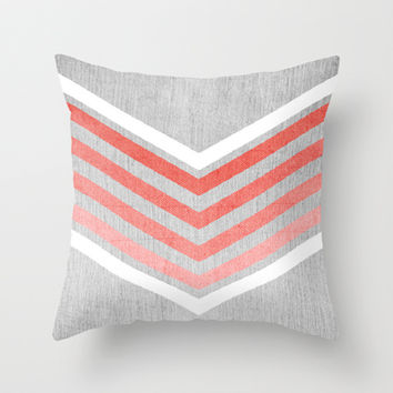 coral gradient chevron on silver grey wood throw pillow by society6