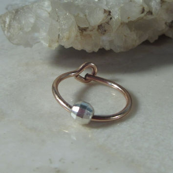 Cartilage Hoop Earring Pink Gold with Silver Mirror Cut Bead Single