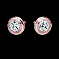2 ct. diamond yard stud earring by bezel set rose gold pink yards ear ring