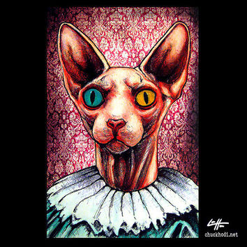"Print 11x17"" - Kat - Hairless Cat Sphynx Victorian Queen Animal Cute Kittie Dark Art Cute Gothic Edwardian Pop Art Creepy Red Gothic"