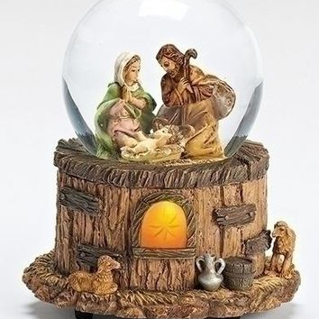 Fontanini Holy Family Stable Light Up Musical Italian Christmas Water Globe