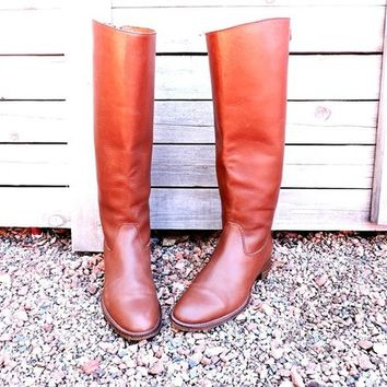 Riding boots 7.5 / J Crew  / equestrian boots / brown leather tall boots / knee high boots