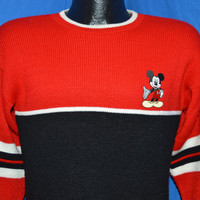 80s Mickey Mouse Disney Red Black Striped Pullover Sweater Small