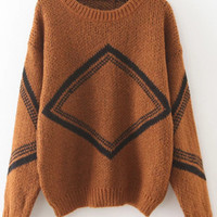 Khaki Diamond Pattern Drop Shoulder Sweater -SheIn(Sheinside)