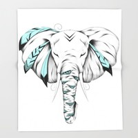 Poetic Elephant Throw Blanket by LouJah