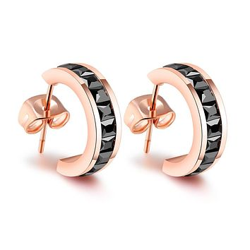 "Amelia ""Dainty"" 18K Rose Gold Princess Cut CZ Huggie Hoop Earrings"