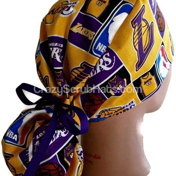 Women's Ponytail Surgical Scrub Hat in LA Lakers
