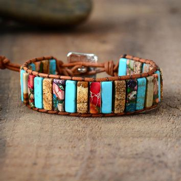 Women Natural Stone Leather Wrap Bracelet Beads Female Jewelry Dropshipping