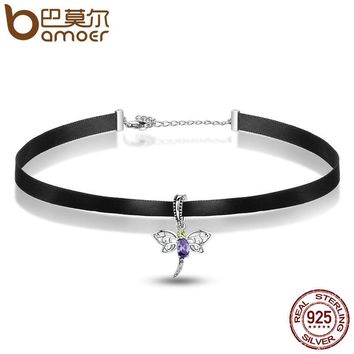 Fashion 925 Sterling Silver Cute Dragonfly Pendant Black Choker Necklace Women Necklaces & Pendants Jewelry SCA011+SCC048
