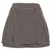 CHARCOAL GINGHAM MINI KILT SHORTS
