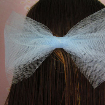 Sky Blue Tulle Girl's Fabric Hair Bow w/ Alligator Clip