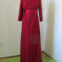 Burgundy A-line Elastic Woven Satin &Lace Bateau Neckline Beading&Crystals Belt Floor Length Mother Dress