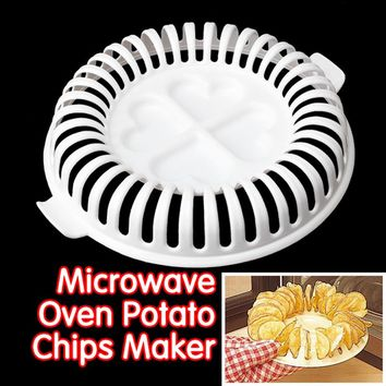 Home DIY Low Calories Microwave Oven Fat Free Potato Crisps Fried Chips Maker Baking & Pastry Tools Chips Rack Kitchen Tools