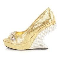 Gold Gemstone Rhinestone Curved Wedges Faux Leather