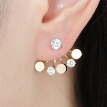 Sparkle round gold diamante ear jacket, round gold ear jacket, diamante ear jacket, geometric ear jacket, round ear jacket, round ear cuff