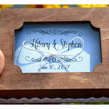 Personalized ring bearer box with a glass lid, ring box, wedding box, wedding ring box,ring bearer pillow alternative ,ring holder