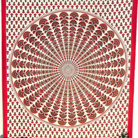 Twin Indian Mandala Tapestry Red Wall Hanging Hippie Hippie Floral Cotton Bedspread Ethnic Drom Tapestry
