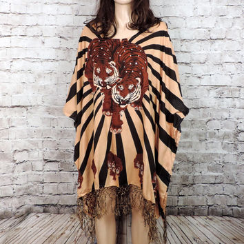 VTG Tiger Kimono Caftan/ 90's Printed Striped Fringed short Caftan/ Sequin Caftan Dress/ 90's 1990's Vintage