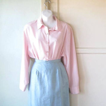 Blush Pink Long Sleeve '80s Blouse w/ Shoulder Pads; Women's Large, Long-Sleeve Vintage Career/Date Top; U.S. Shipping Included