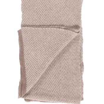 Merino / Cashmere Herringbone Knit Throw by Alashan