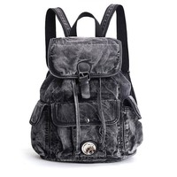 Women's Denim Daily Backpack Vintage Backpacks  Bag