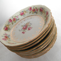 Vintage GoldCastle Bowls Set Of Four Japan Dinnerware Set Cream and Pink China Floral Gold Etched Rim Antique Goldcastle Hostess Pattern
