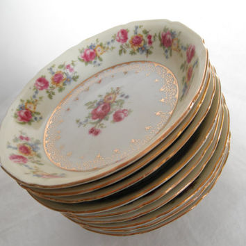 Vintage GoldCastle Bowls Set Of Four Japan Dinnerware Set Cream and Pink China Floral Gold Etched & Best Floral Dinnerware Products on Wanelo