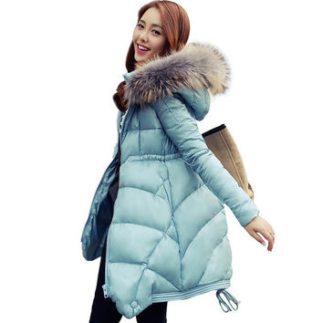 Long Sections Slim True Raccoon Collar Down Jacket = 1783236292