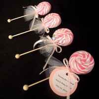 Washcloth Lollipops - 25ct Pink Stripe -  Baby Shower Favor, Decoration, Centerpiece, diaper cake, Easter, washcloth cupcake