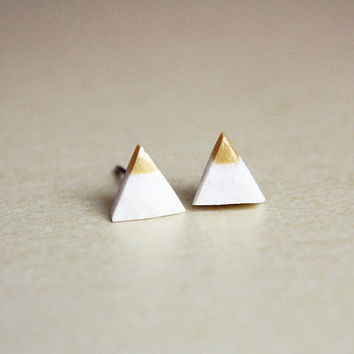 gold dipped tiny triangle studs  geometric jewelry  by PetiteCo