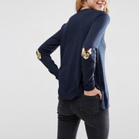 ASOS Jumper with Cat Elbow Patch at asos.com