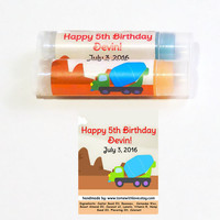 10 Construction Vehicle Lip Balm Party Favor - Personalized Party Favor, Cement Mixer Truck, Truck Party, Construction Birthday Party, A83